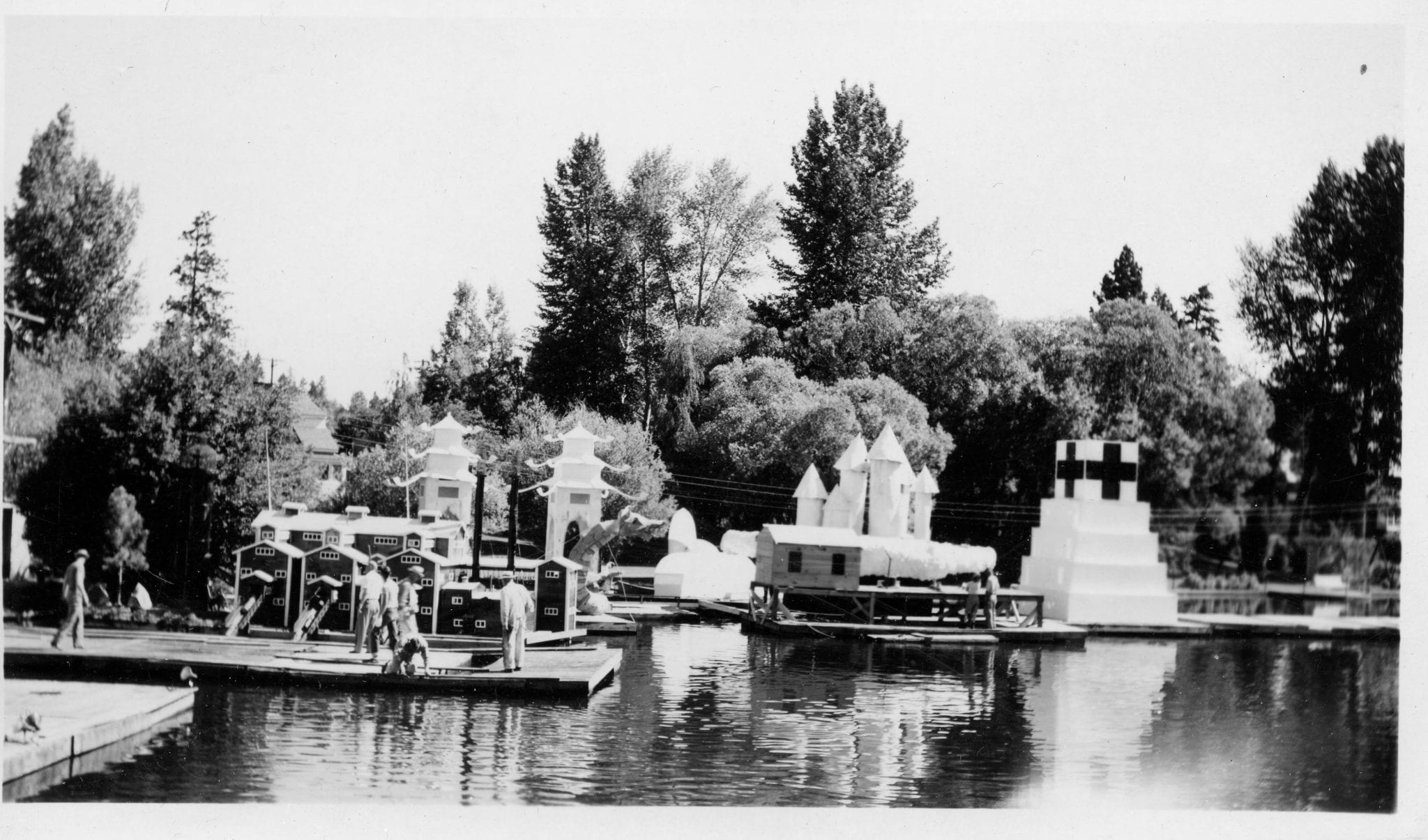 An undated photo of elaborate floats that highlighted the now defunct Water Pageant.