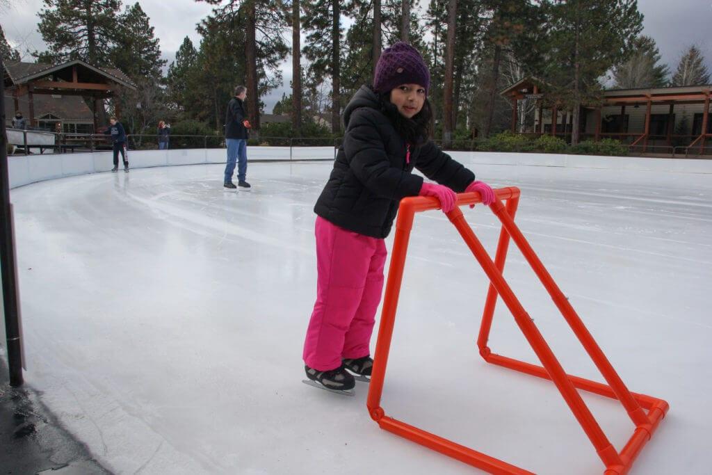 Learning to ice skate in Sunriver