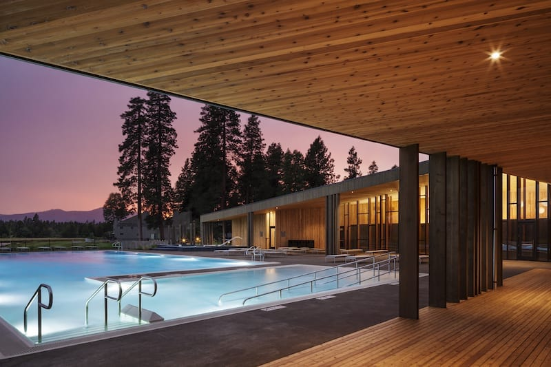 Newly renovated lodge and pool at Black Butte Ranch in Sisters, Oregon.