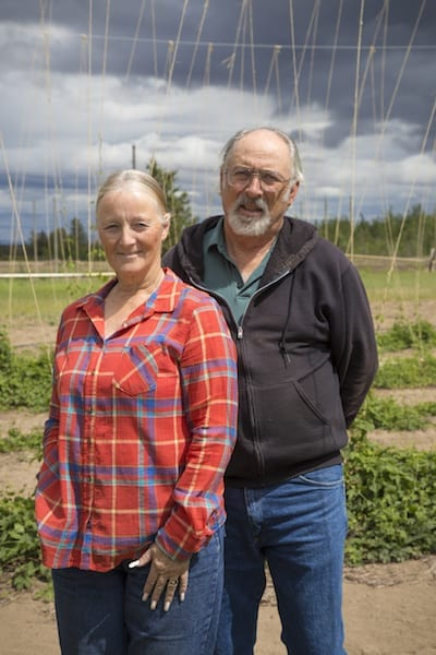 Gary and Susan Wyatt, owners of Tumalo Hops in Central Oregon.