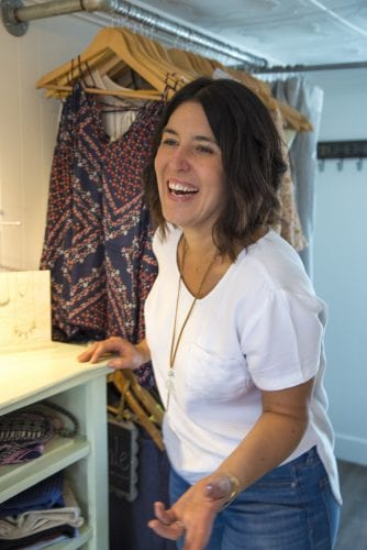 Mariah Young inside her Bend fashion truck Wildflower Mobile Boutique