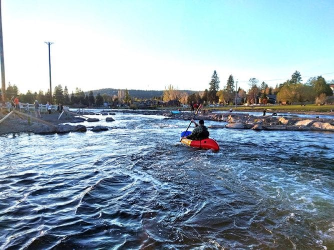 Man Rafting Deschutes River Old Mill District