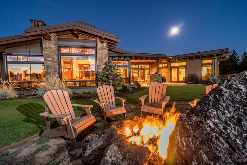 A fire feature built into a home's landscaping in Bend, Oregon