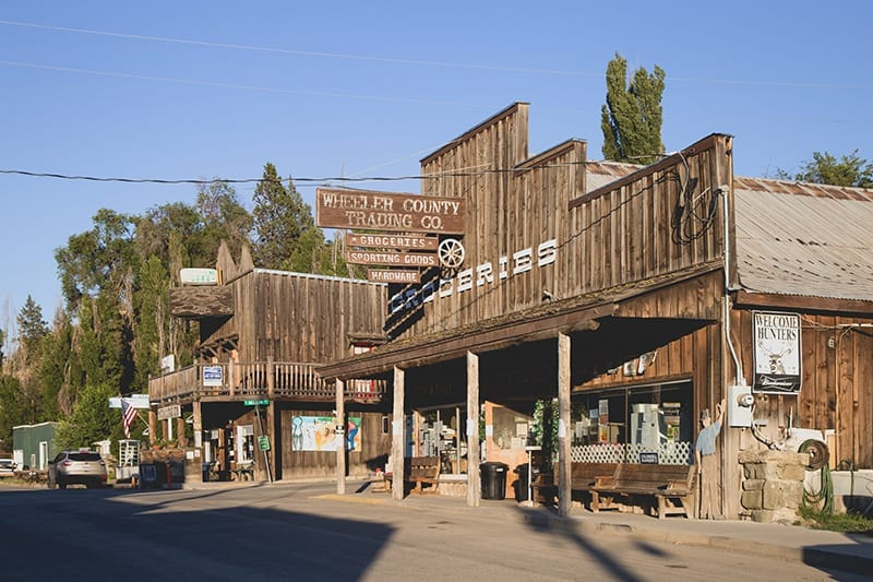 The main street in Mitchell, a small western-themed town in Eastern Oregon.