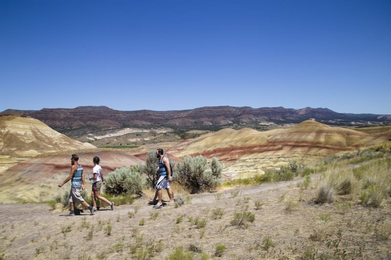 Hiking in the Painted Hills in Eastern Oregon.