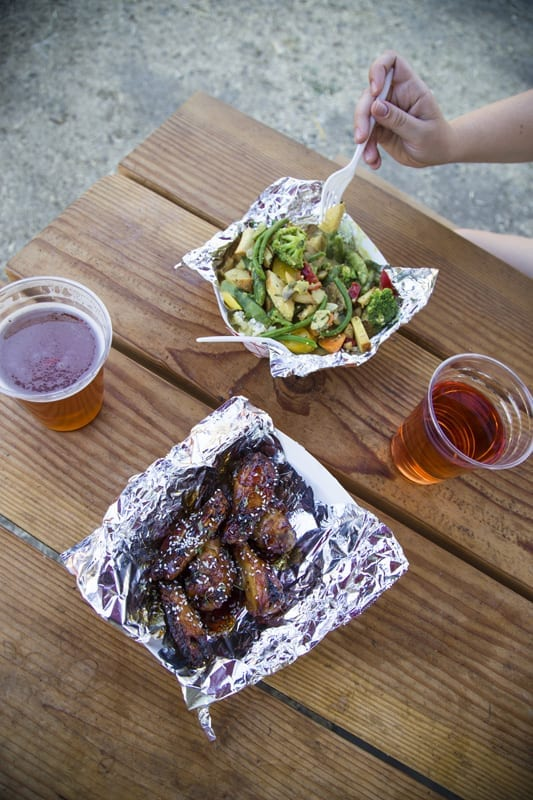 Chicken wings and beer from Tiger Town Brewing in Mitchell, Oregon.
