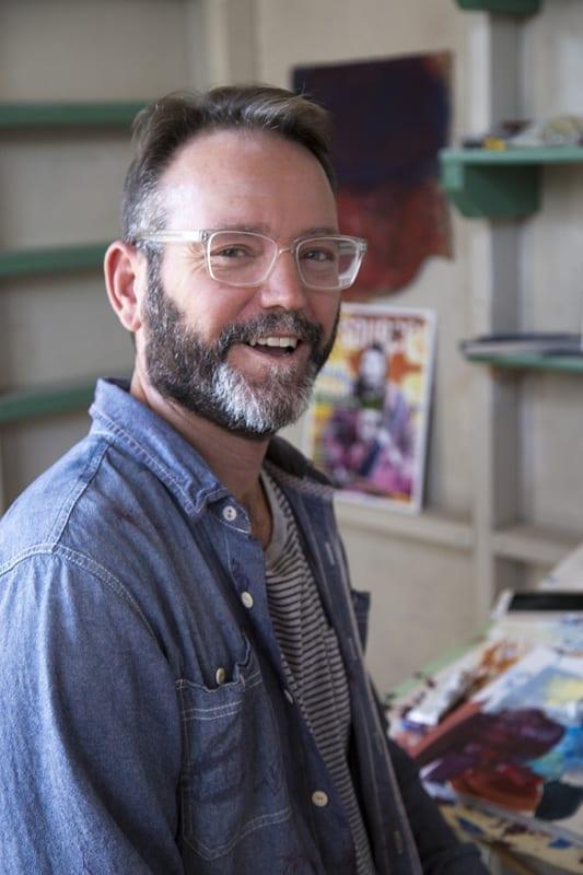 Artist Courtney Holton in his artist studio Bend, Oregon
