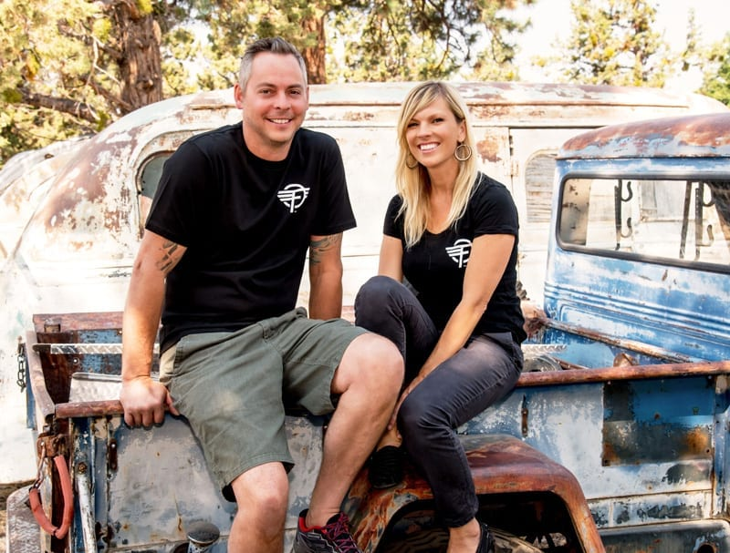 Anna and Justin Scribner, owners of Flyte Camp, a vintage trailer restoration company in Bend, Oregon.