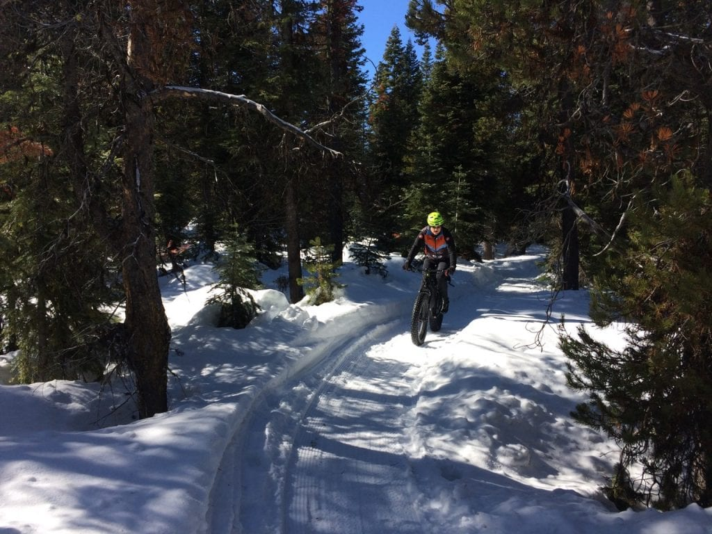 Fat biking on the groomed trails at Wanoga Sno-Park in Bend, Oregon