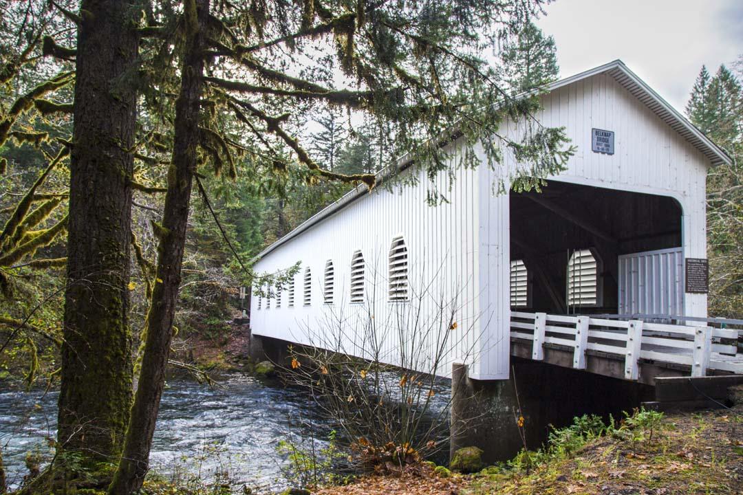 Belknap Covered Bridge on the McKenzie River in Oregon