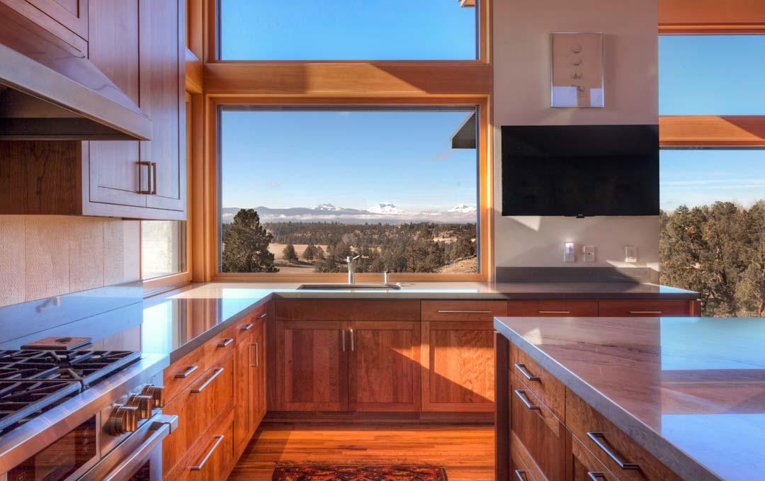 Architecture and home design kitchen of the Kalorama home near Bend, Oregon