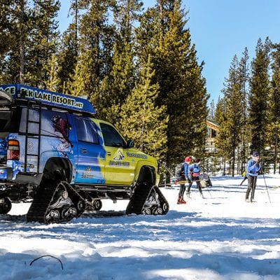 A winter getaway cross-country skiing at Elk Lake Resort near Bend, Oregon