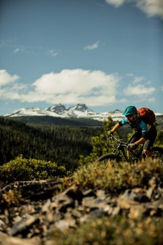 Mountain Biking on the Farewell Trail near Tumalo Falls in Bend, Oregon in October