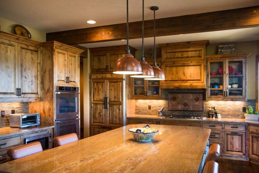 Rustic Kitchen with Copper Lighting