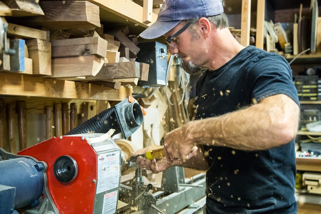 Woodworking artist Will Nash in Bend, Oregon